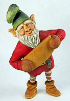Chuckles the elf carving by Dale Green