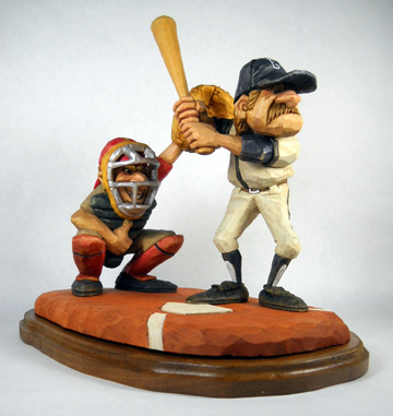 Crowding Home Plate wood carving by Dale Green