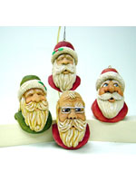 Santa Ornaments carvings by Dale Green