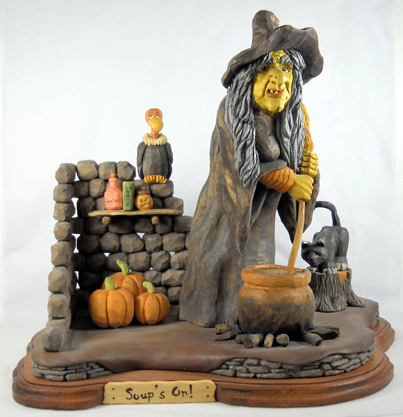 Soup's On wood carving by Dale Green